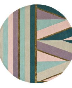 Beżowo Fioletowy Dywan Okrągły - SAHARA ROUND PINK 56102