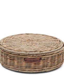 Rustic Rattan Tea Box Round